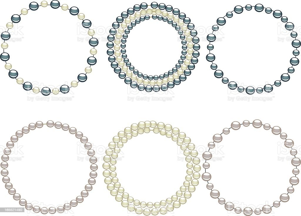 Rows of different color pearls arranged like necklaces royalty-free stock vector art