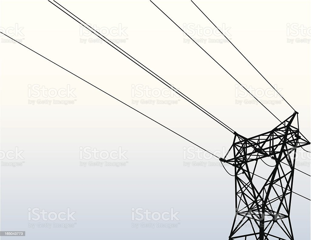 Rows of electrical power lines and tower from the ground up vector art illustration