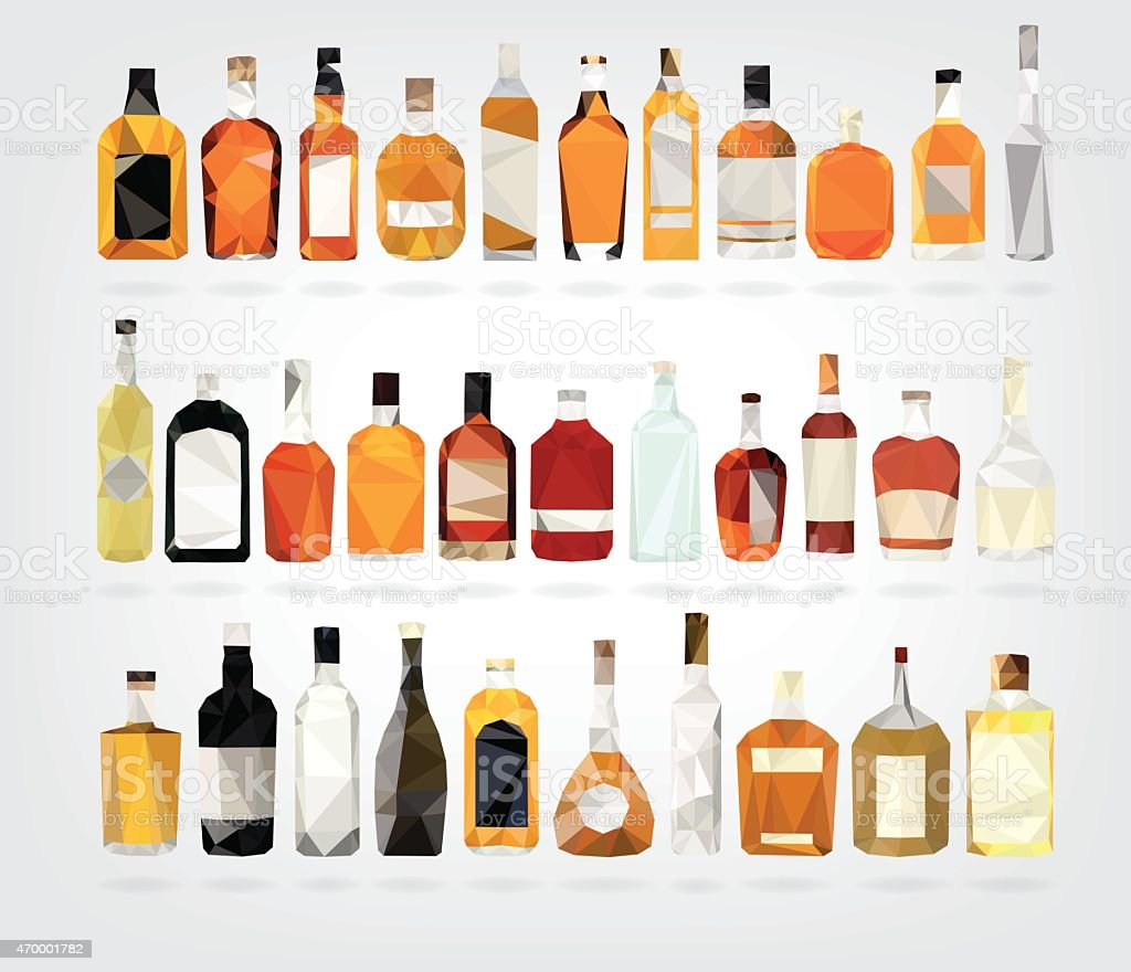 Rows of low poly liquor bottles vector art illustration