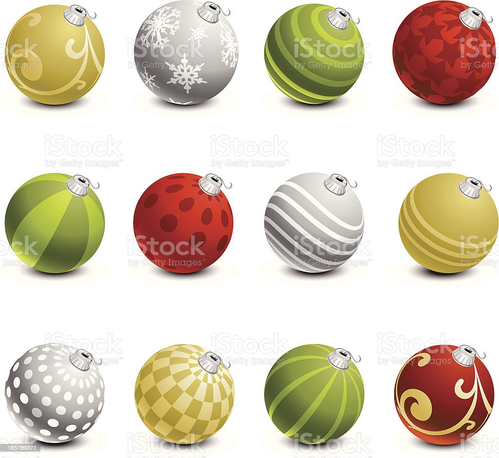 Rows of pretty Christmas ornaments royalty-free stock vector art