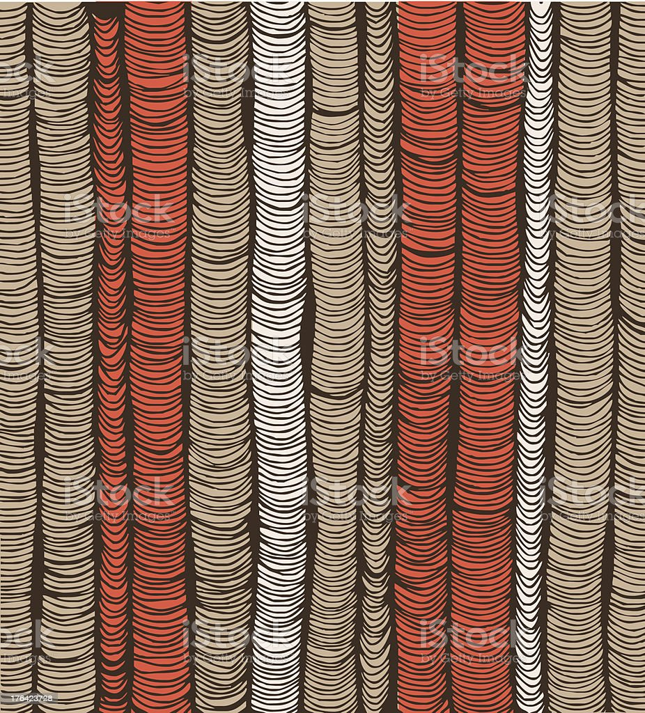 Rows of red and brown hand drawn vertical folds royalty-free stock vector art