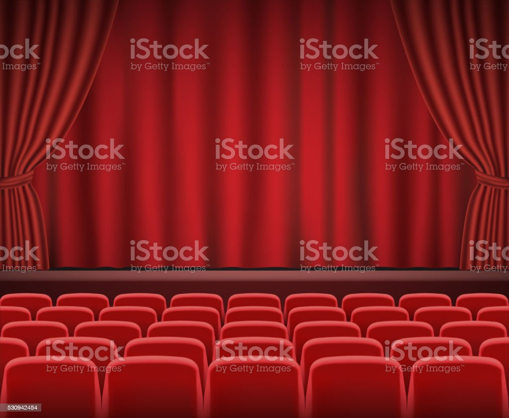 Rows of red cinema or theater seats vector art illustration