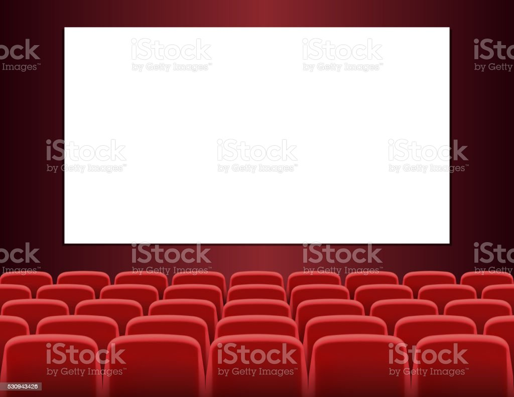 Rows of red seats in front of white blank screen vector art illustration