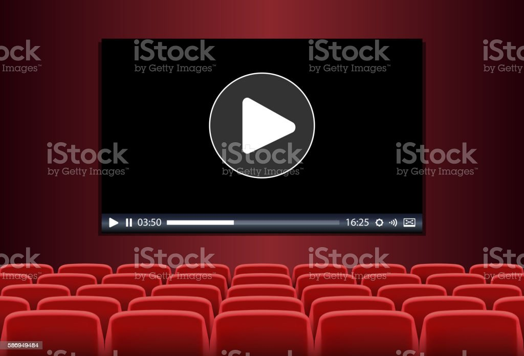 Rows of  seats in front of multimedia playing on screen vector art illustration