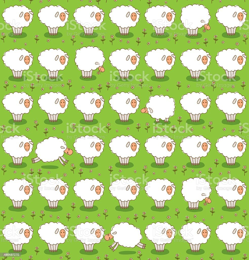 Rows of White Sheep Grazing On a Green Meadow vector art illustration