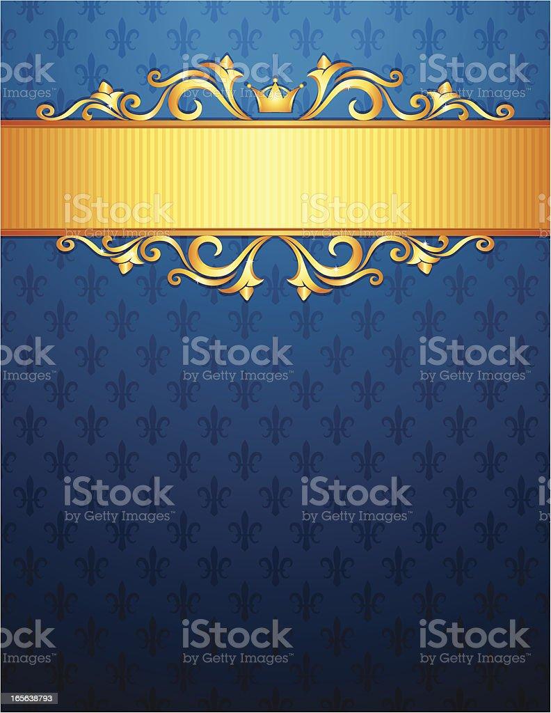 Royal background with golden ornaments, blue fleur de lys pattern vector art illustration