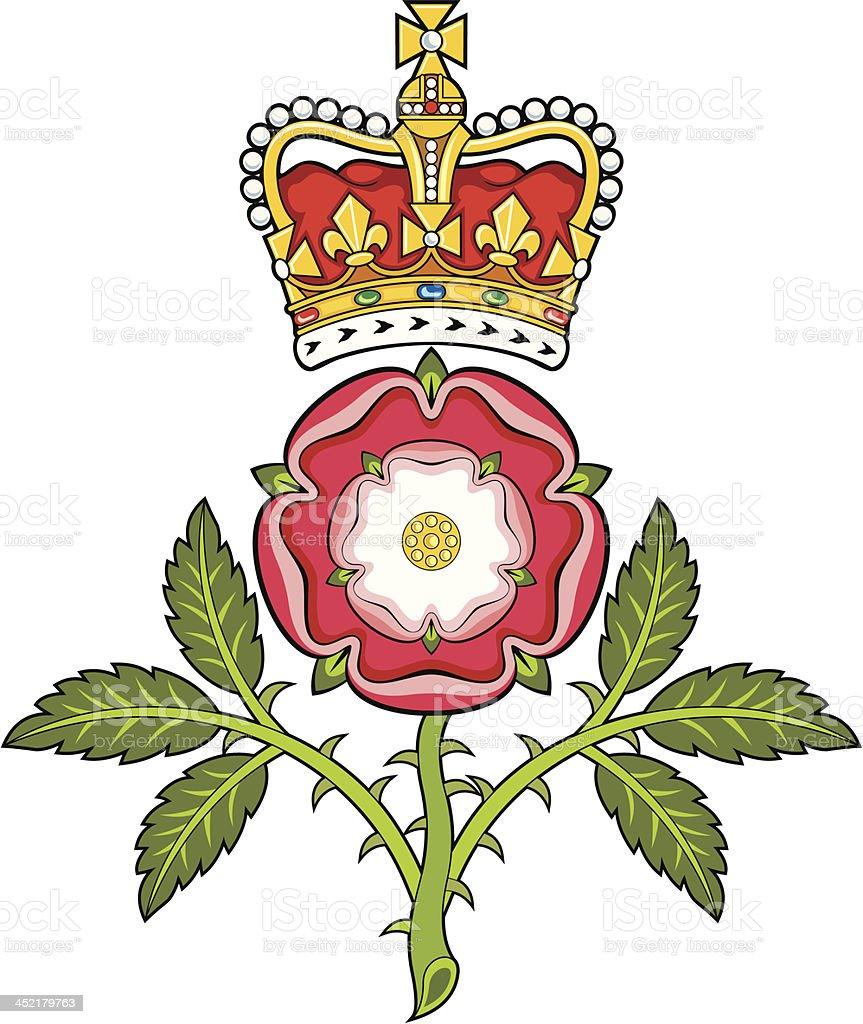 Royal badge of England.Heraldic Tudor rose and S.Edward's Crown royalty-free stock vector art
