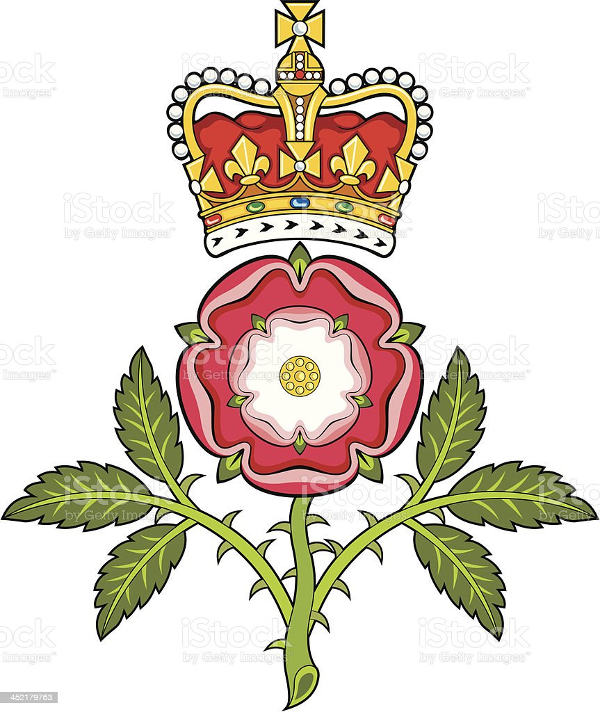 Royal badge of England.Heraldic Tudor rose and S.Edward's Crown vector art illustration
