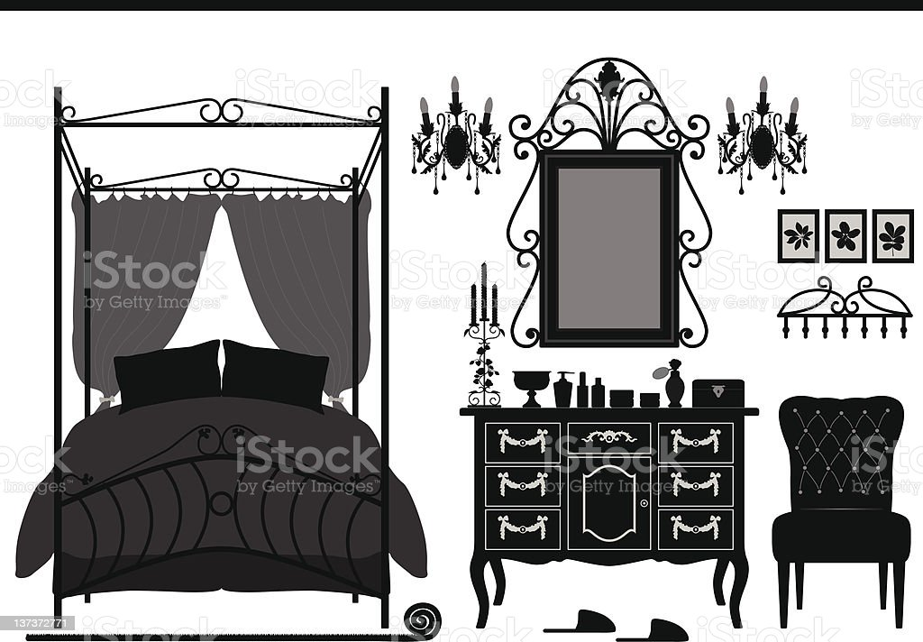 Royal Bedroom Room Old Antique Victorian Furniture stock photo