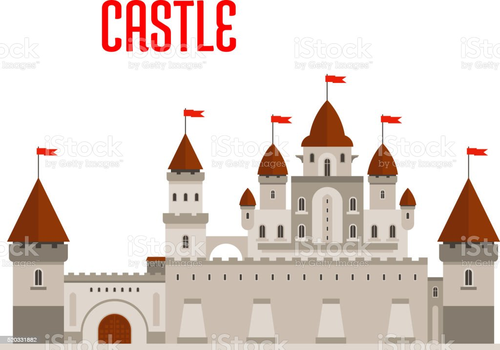 Royal castle with towers and curtain walls vector art illustration