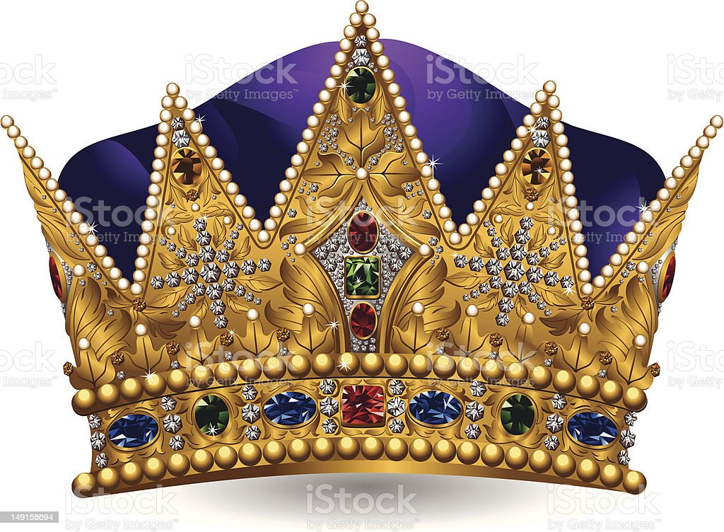Royal crown with jewels and purple color vector art illustration