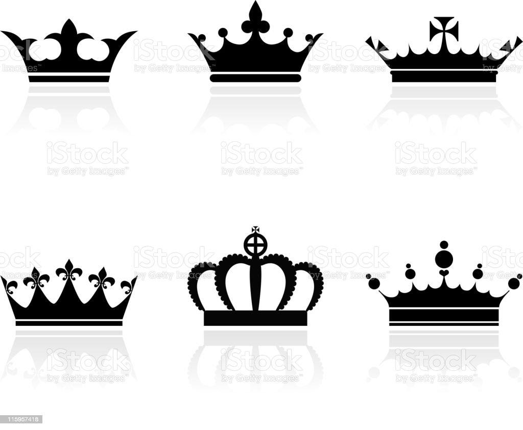 Royal Crowns on Black and White Vector Set vector art illustration