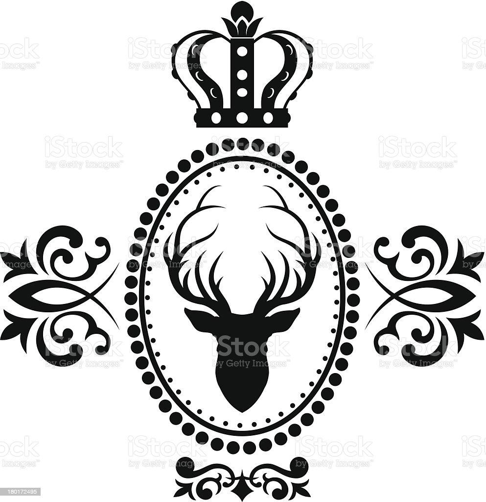 Royal deer emblem vector art illustration