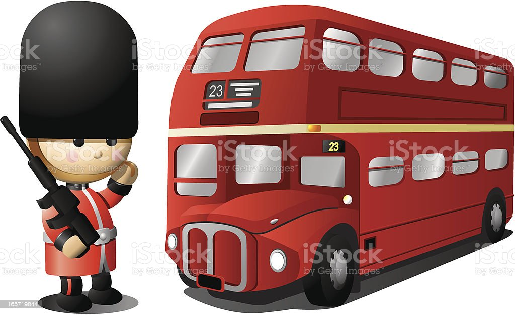 Royal English Guard and London Bus royalty-free stock vector art