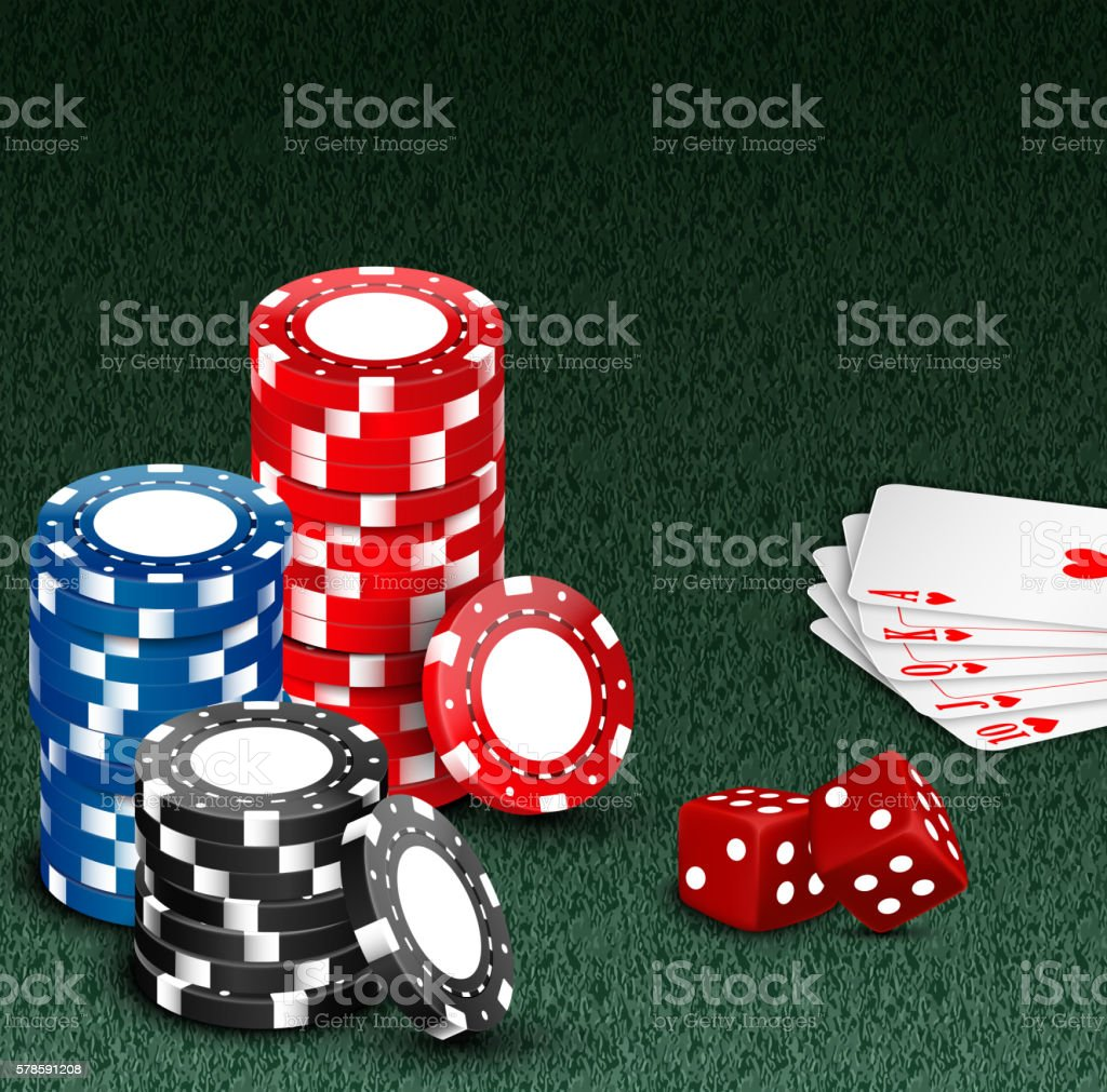 Royal flash with chips and dice on green vector art illustration
