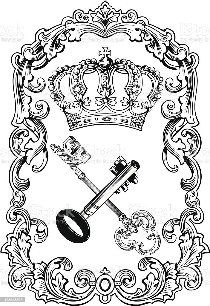 Royal Frame Crown And Keys vector art illustration