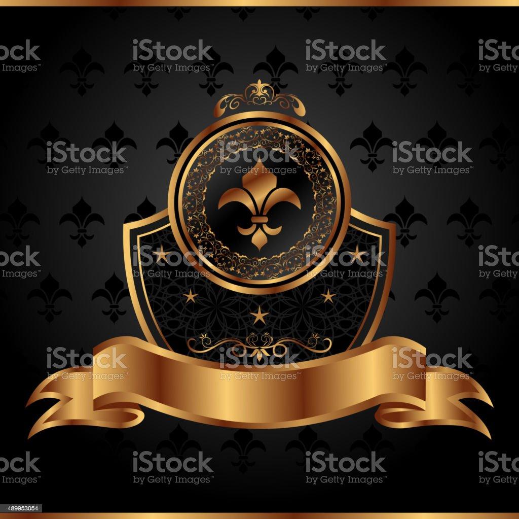 royal golden frame for design vector art illustration