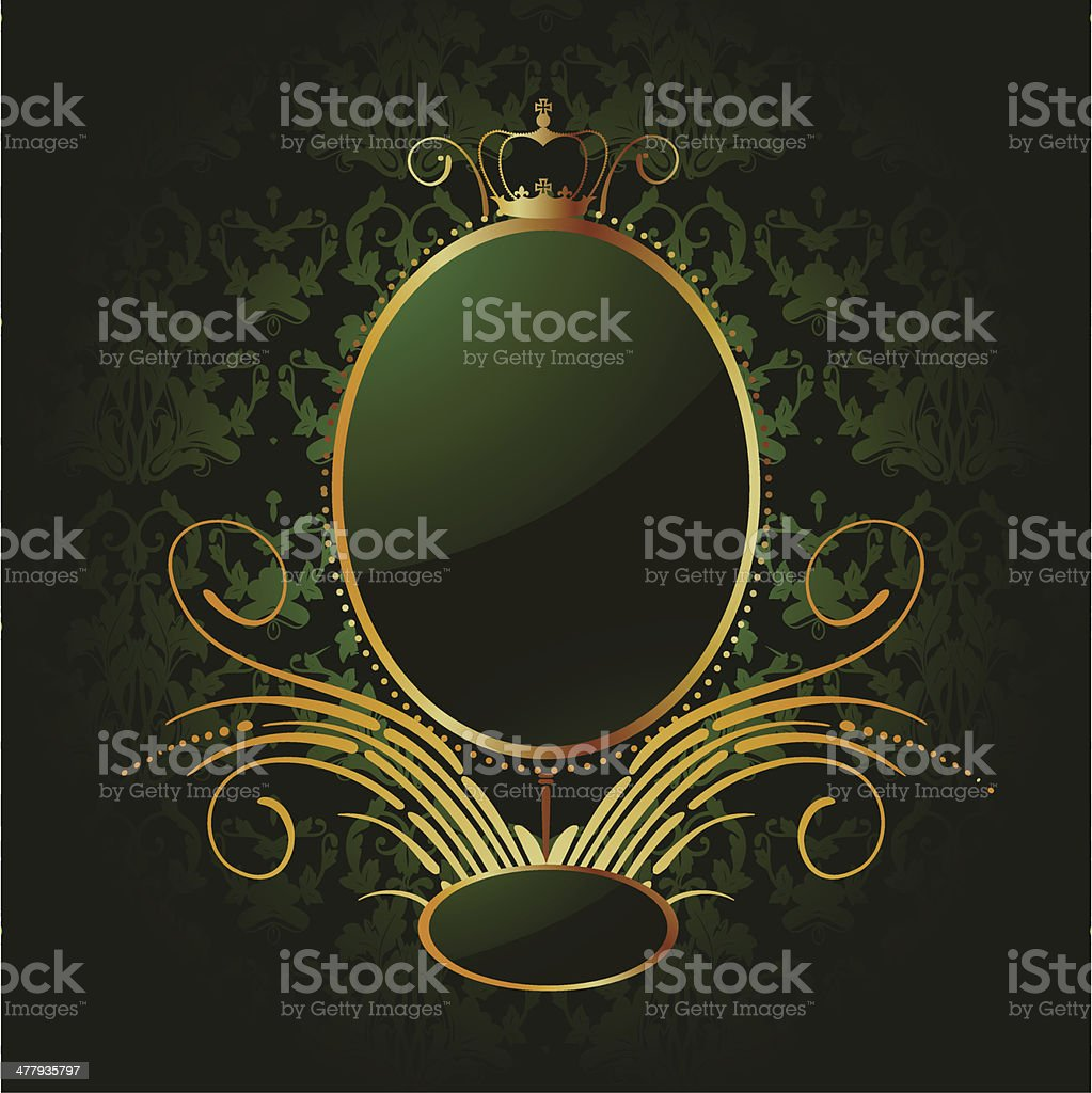 Royal green background with golden frame. Vector royalty-free stock vector art