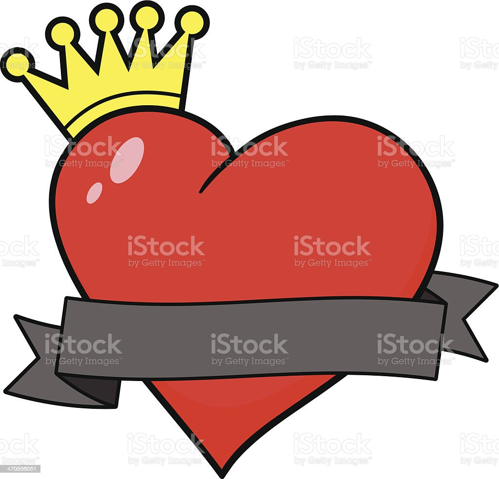 Royal Heart with Banner vector art illustration
