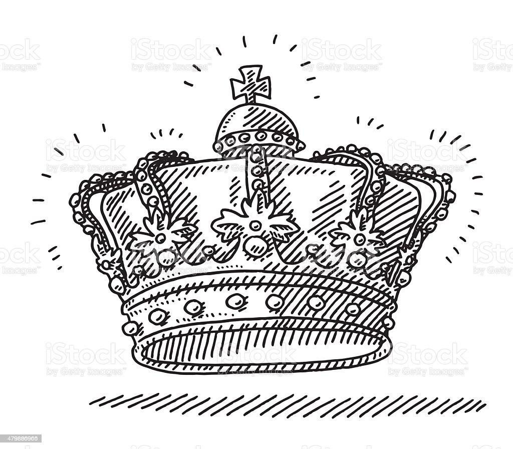 Royal King's Crown Drawing vector art illustration
