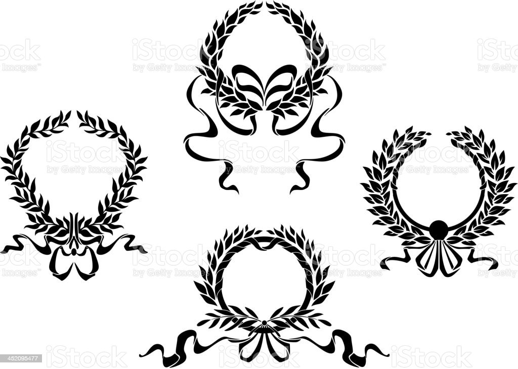 Royal laurel wreaths vector art illustration