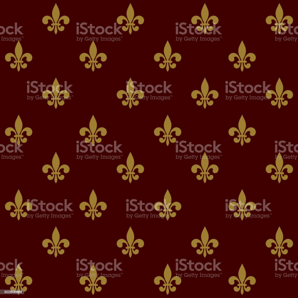 Royal Lily Fleur de Lis Seamless Pattern. Vector royalty-free stock vector art