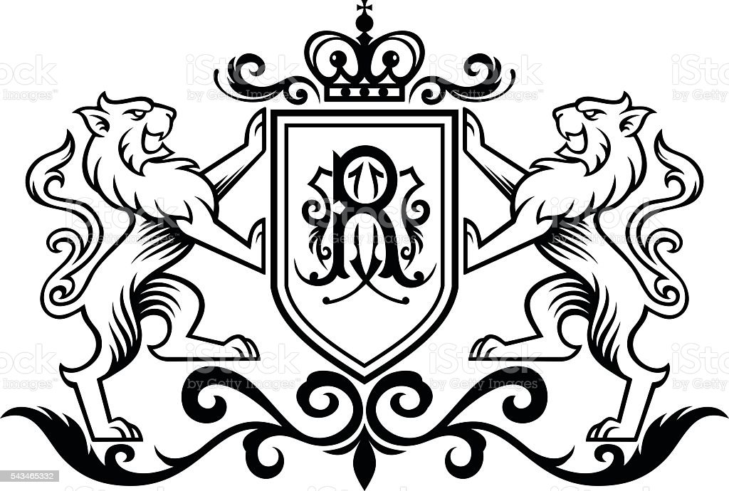 Royal Lion vector art illustration