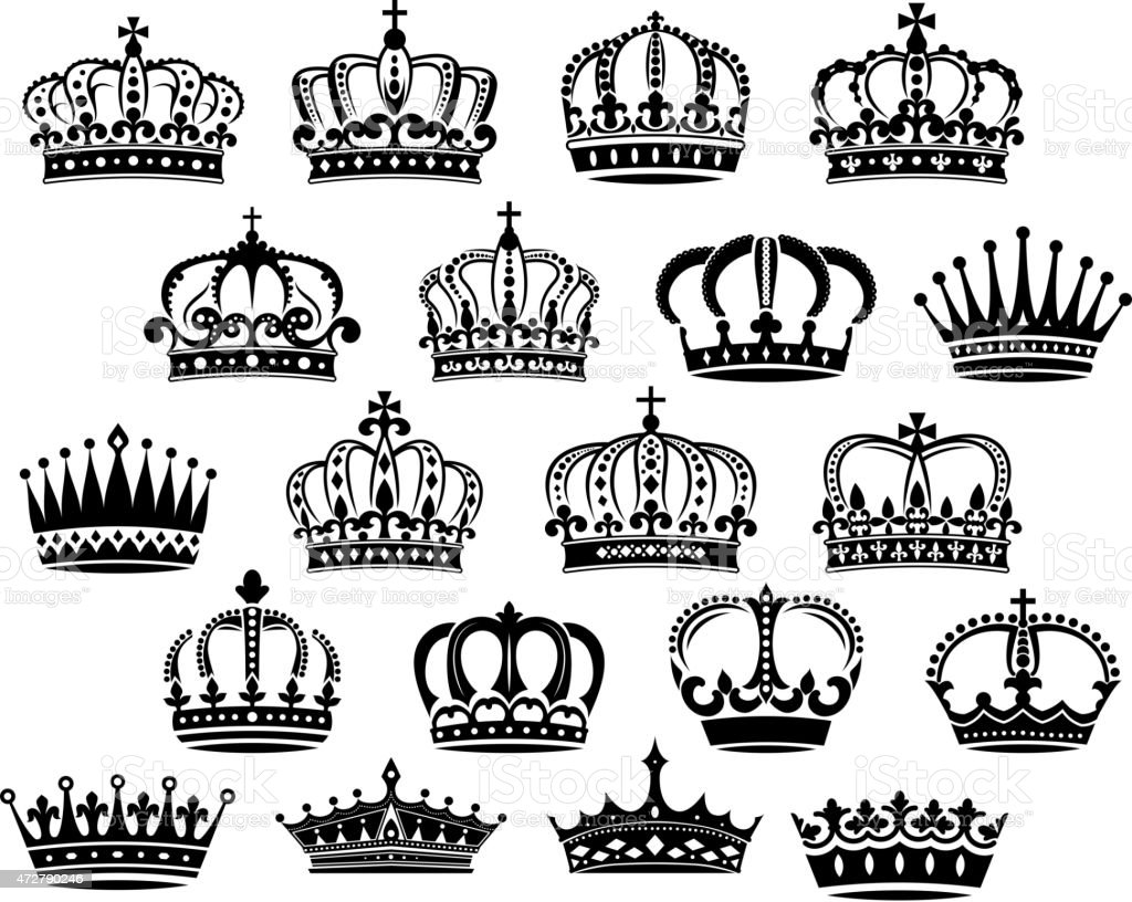 Royal medieval heraldic crowns set vector art illustration