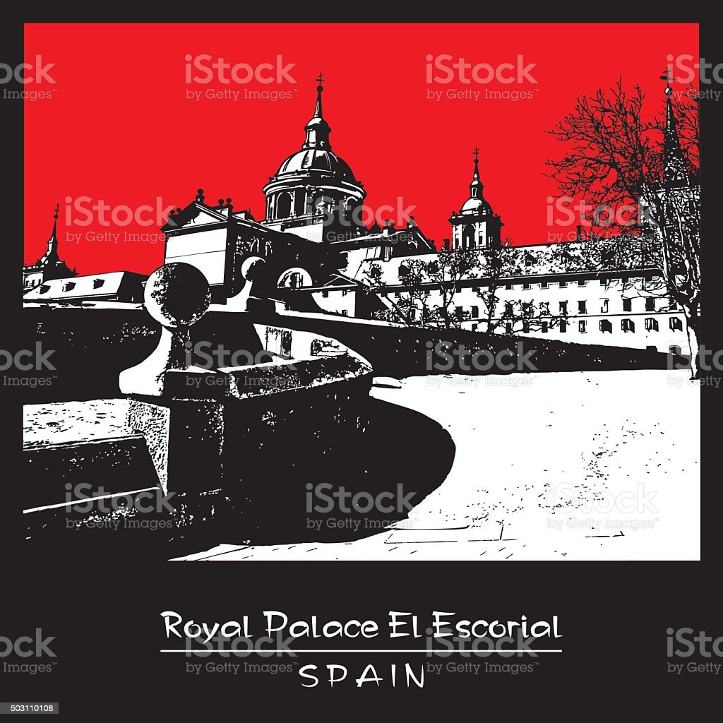 Royal Palace El Escorial, Spain. vector art illustration