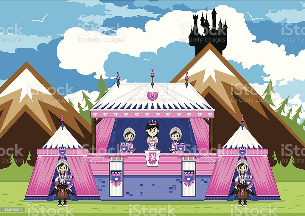 Royal Princess with Guards at Marquee Scene royalty-free stock vector art