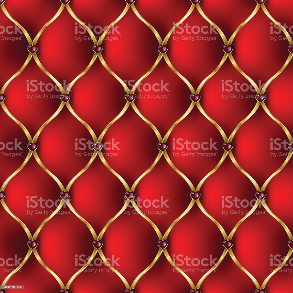 Royal red and golden tab upholstery with jewelry pattern background vector art illustration
