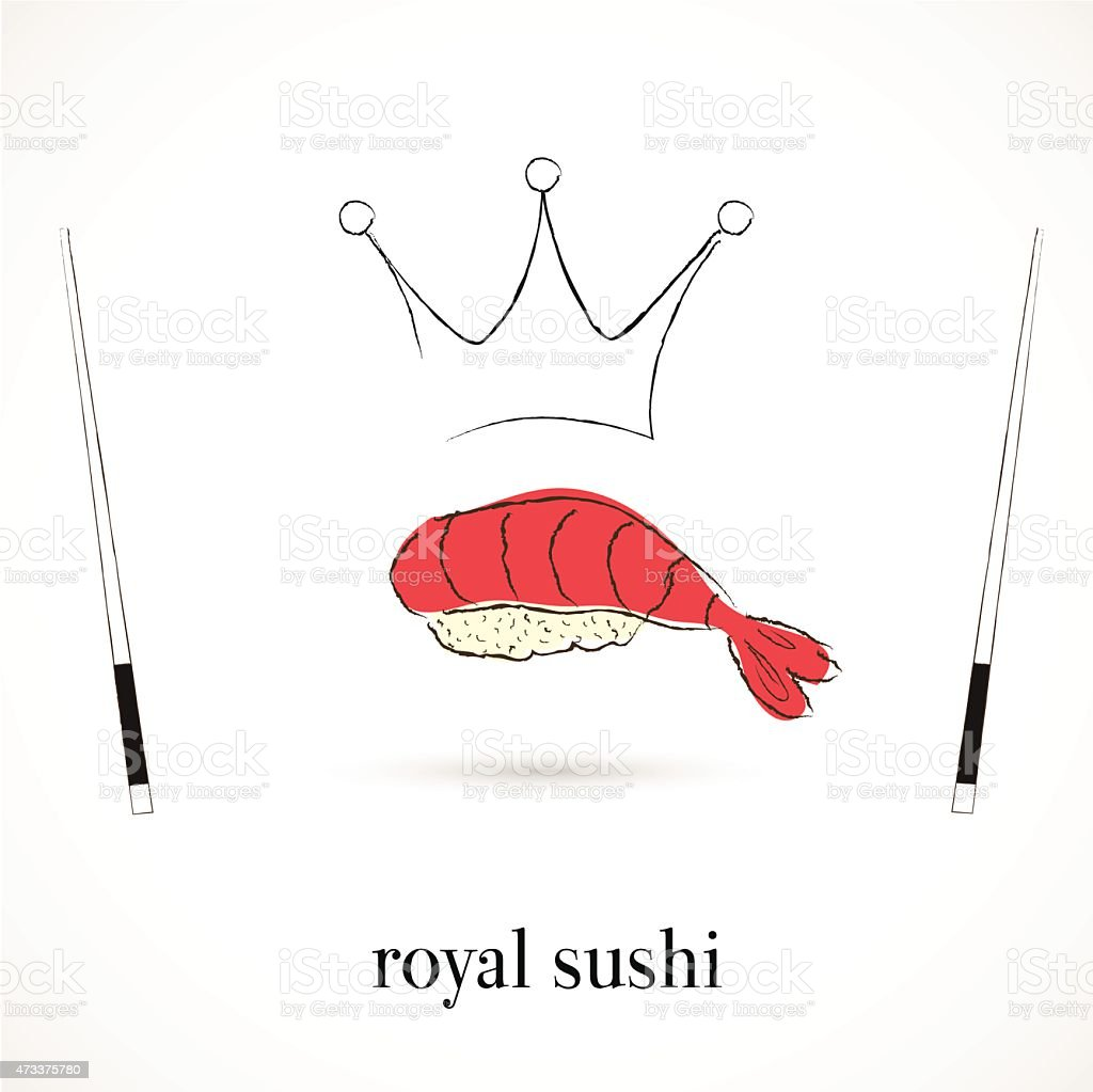 Royal sushi restaurant vector art illustration