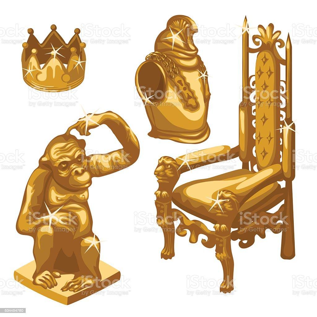 Royal throne, Golden monkey and breastplate vector art illustration