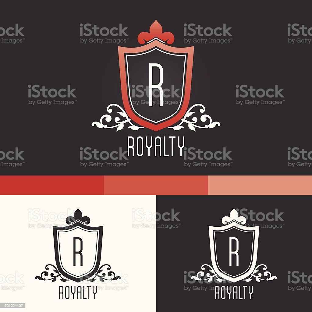 Royalty Crest Ornament Template. Vector Elements. Brand Icon Design Illustration vector art illustration