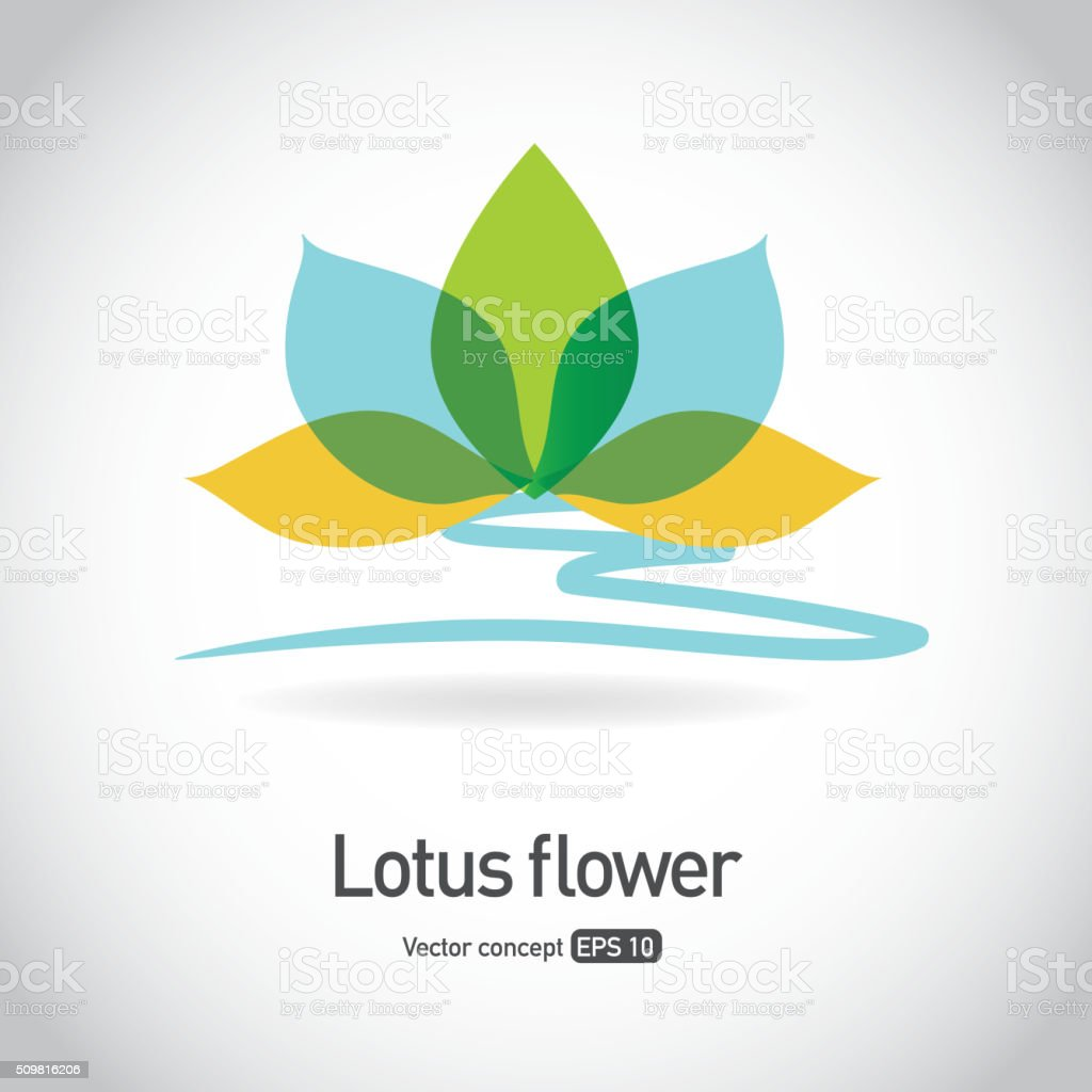 Royalty free lotus flower symbol icon concept vector art illustration