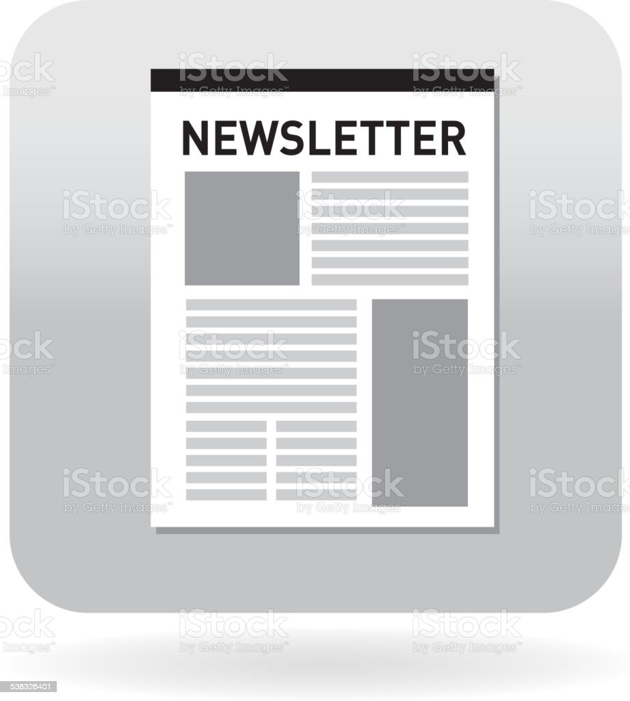 Royalty free Newsletter on a page document icon with ribbon vector art illustration