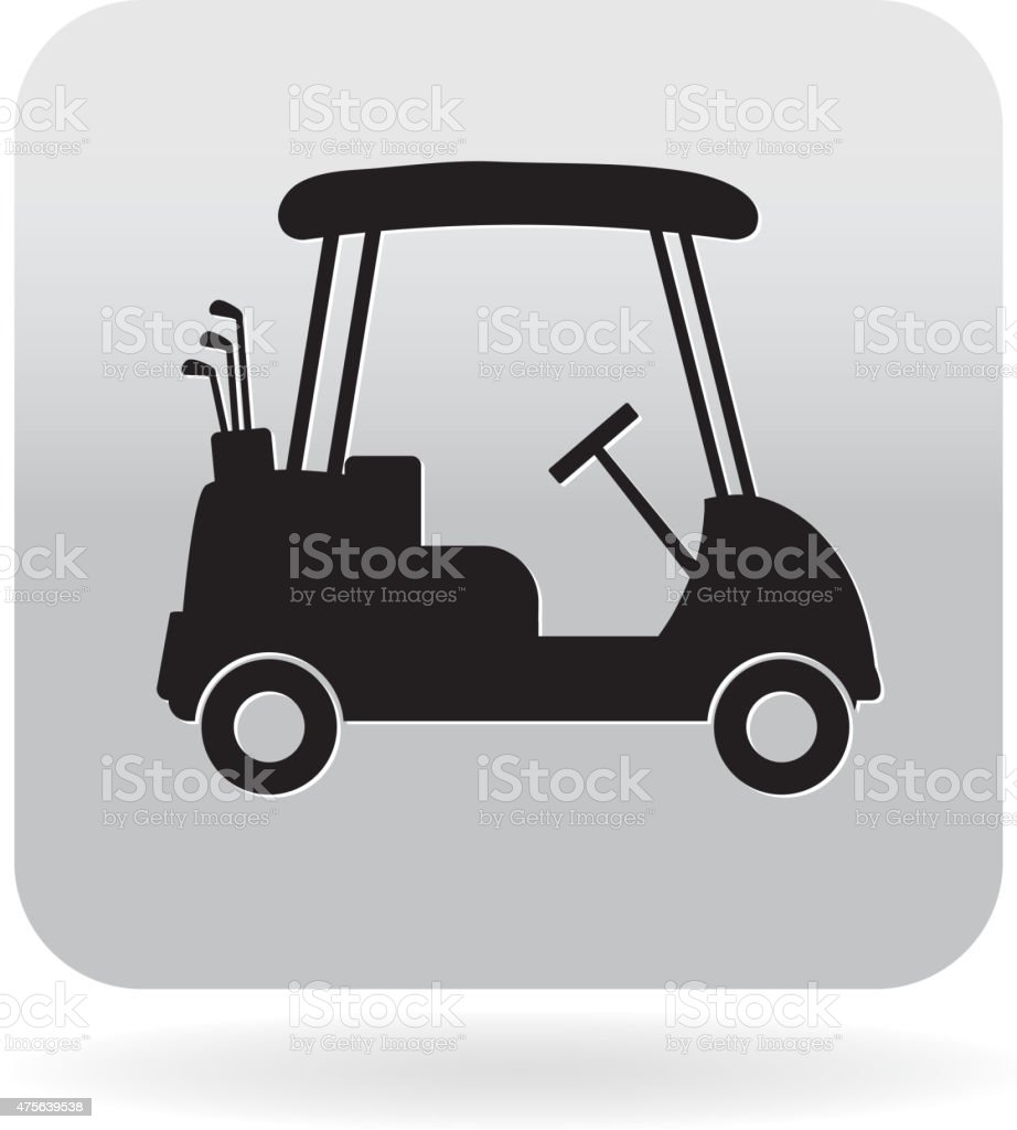 Royalty free silhouette black and white golf cart icon vector art illustration