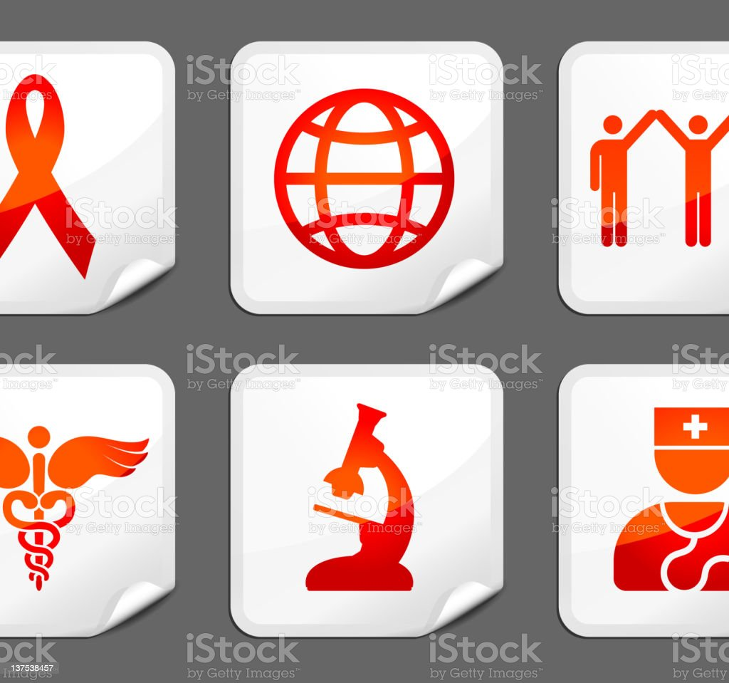 AIDS royalty free vector arts on stickers vector art illustration