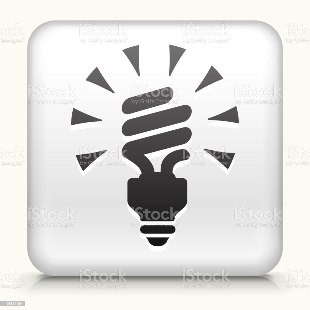 White Square Button with Spiral Energy Saving Light Bulb vector art illustration