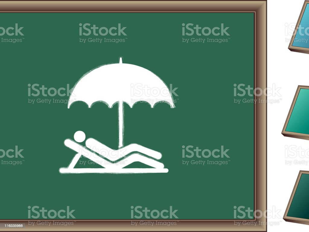 royalty free vector Chalk drawing of person under beach umbrella royalty-free stock vector art