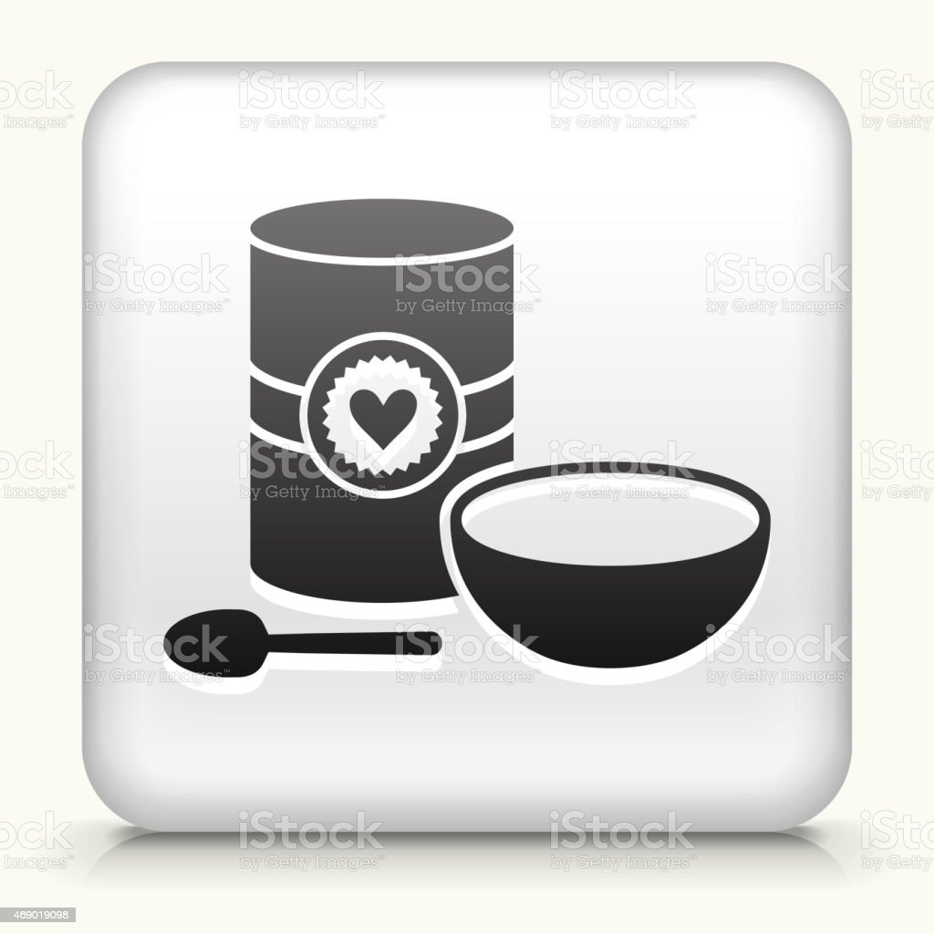 Royalty free vector icon button with Canned Soup and Bowl vector art illustration