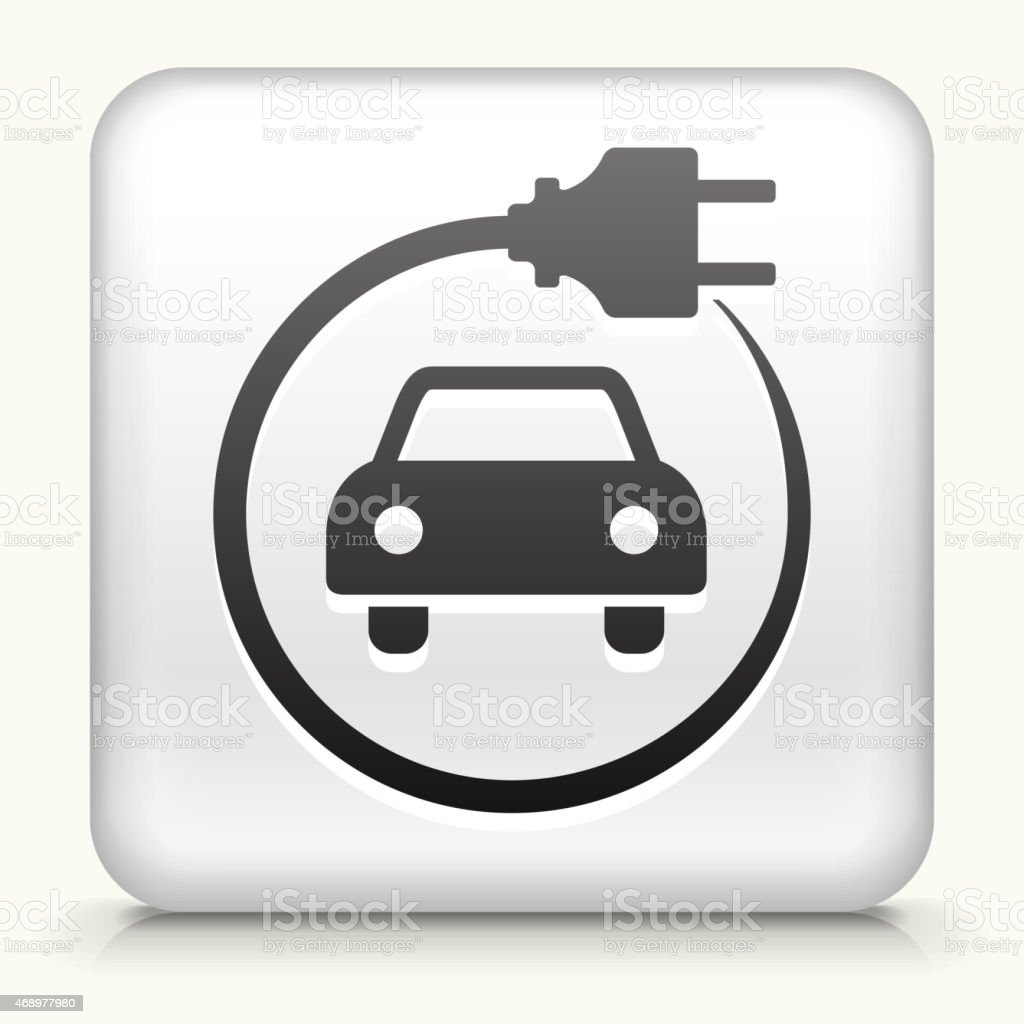 Royalty free vector icon button with Electric Car vector art illustration