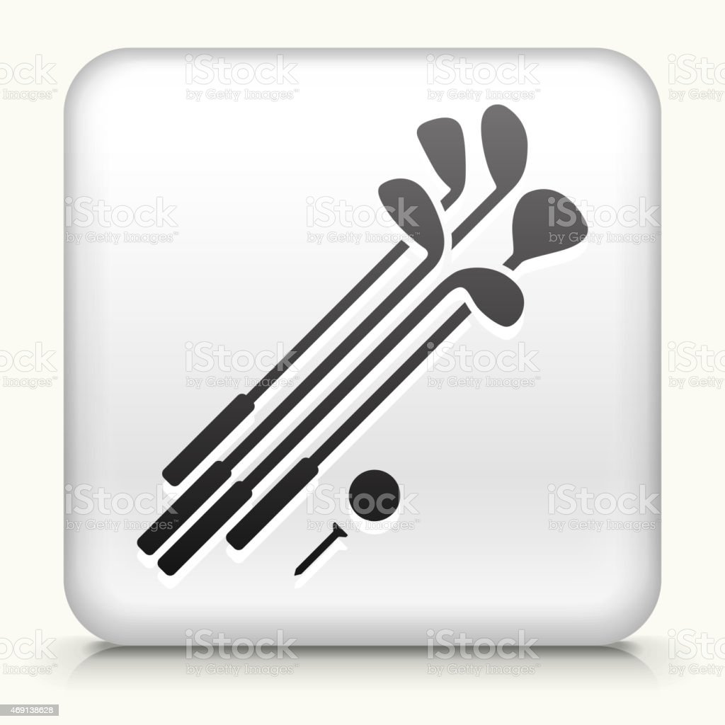 Royalty free vector icon button with Golf Clubs and Ball vector art illustration