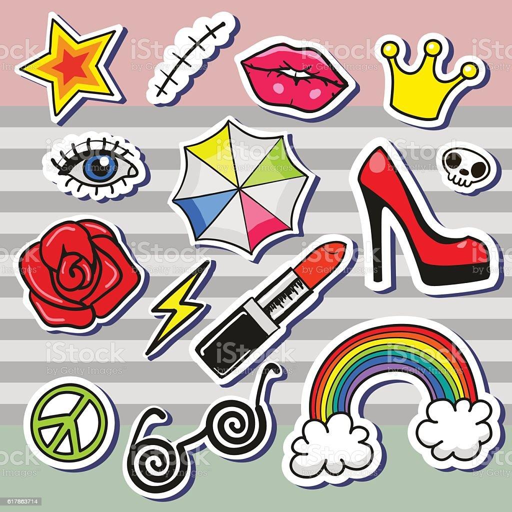 rtoon patch badges vector art illustration