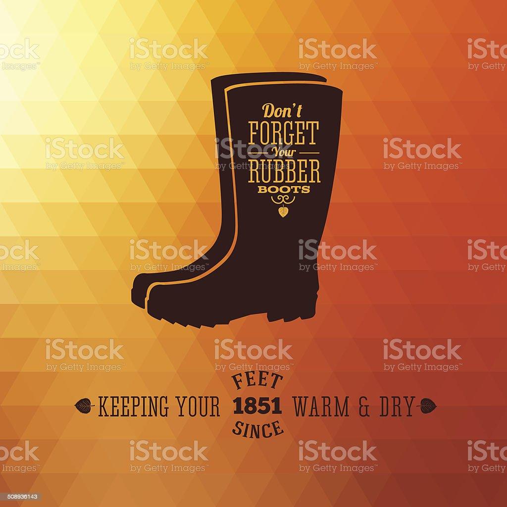 Rubber Boots Autumn Abstract Vector Background vector art illustration
