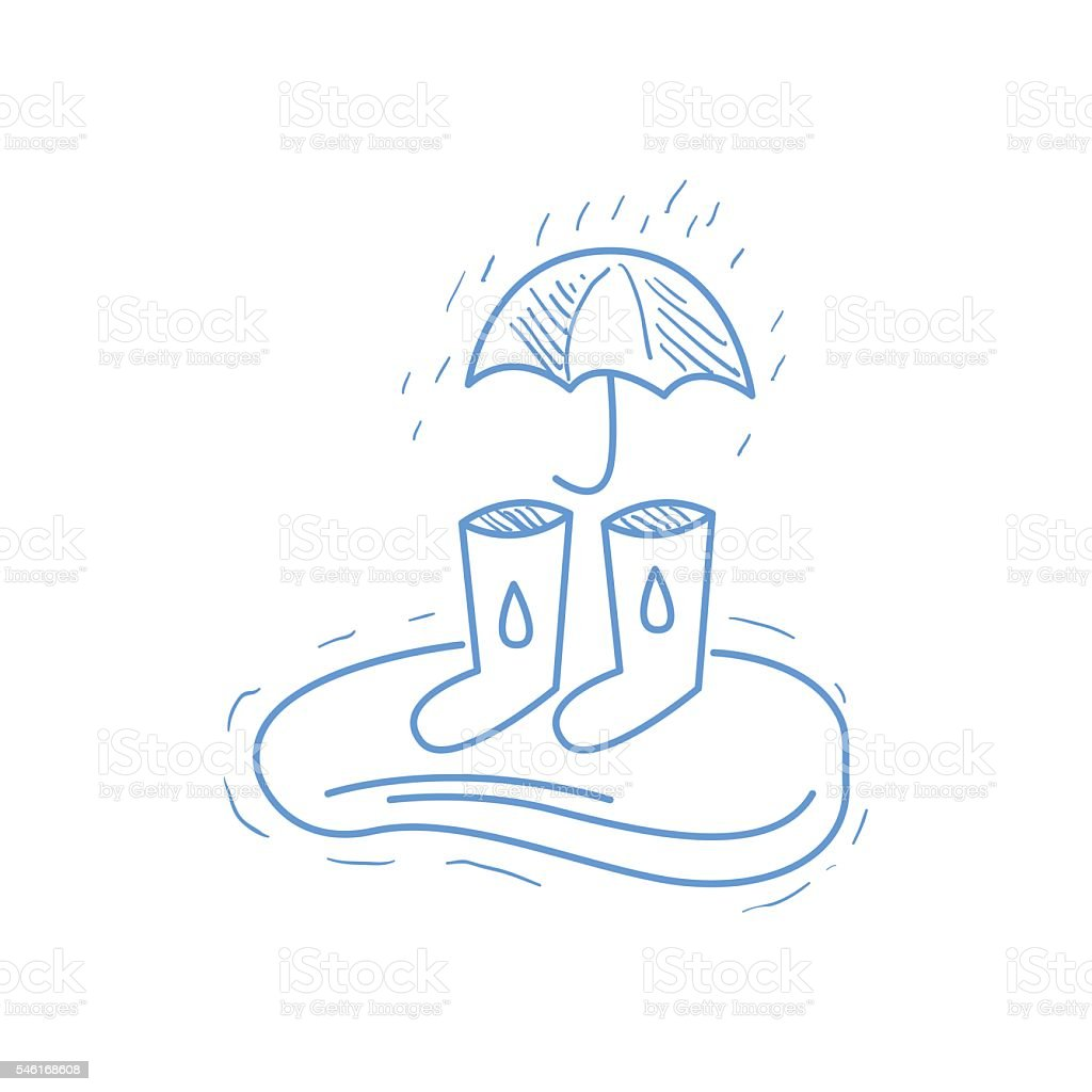 Rubber Boots, Puddle And Umbrella vector art illustration