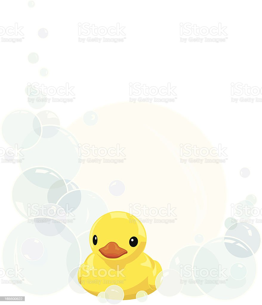 Rubber Duck and Bathtime Bubbles vector art illustration