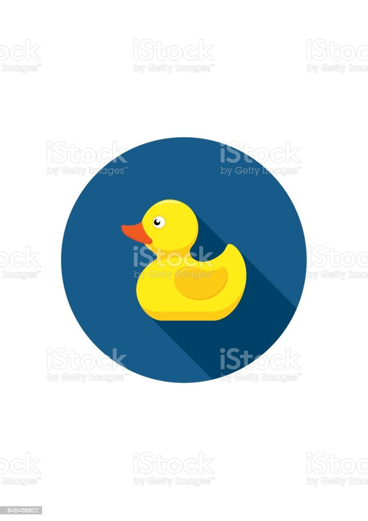 Rubber duck icon bath toy in flat style isolated on white background vector art illustration