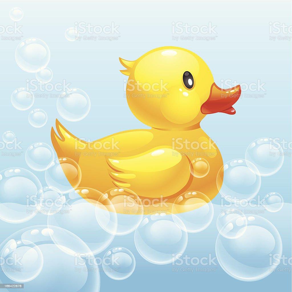 rubber duck in blue water vector art illustration