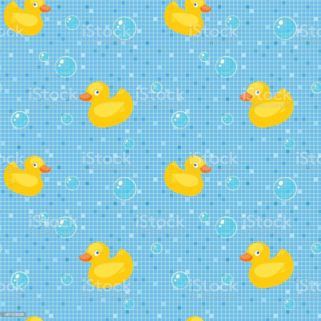 Rubber ducks and bubbles pattern vector art illustration
